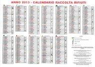 ANNO 2013 - CALENDARIO RACCOLTA RIFIUTI - Comune di Cislago