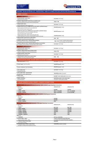 Cenovnik usluga za pravna lica i preduzetnike 28 09 2012 - Eurobank