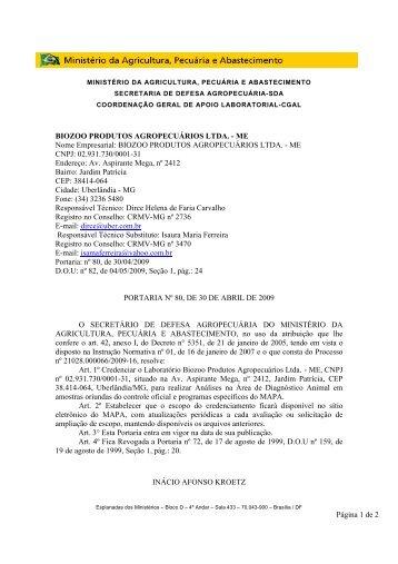 BIOZOO PRODUTOS AGROPECUÁRIOS LTDA. - Ministério da ...