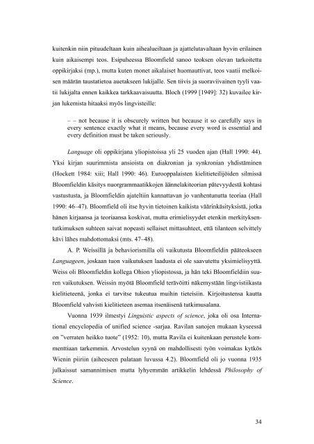 Paavo Ravila ja Leonard Bloomfield kielitieteen ... - Helda - Helsinki.fi