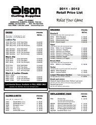 2011 - 2012 Retail Price List - Olson Curling Supplies