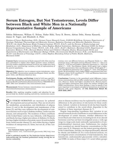 Serum Estrogen, But Not Testosterone, Levels     - Majority