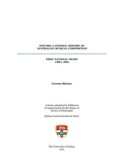 toward a general history of australian musical - the university of ...  yumpu