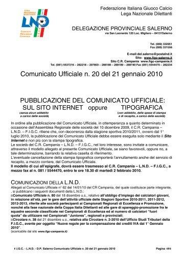 Comunicato Ufficiale n. 20 del 21 gennaio 2010 - Figc Campania