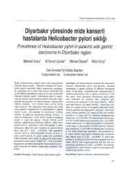 Diyarbakır Yöresinde mide kanserli hastalarda Helicobacter pylori ...