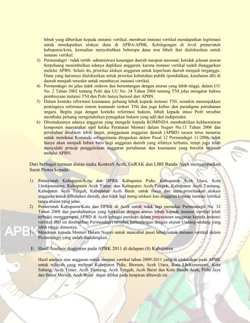 Analisis Terkait Pengalokasian Anggaran Kepada ... - KontraS Aceh