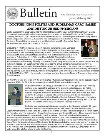 January - February 2007 - Mahoning County Medical Society