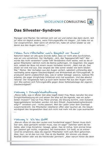 Das Silvester-Syndrom - Matthias Wölkner: Consulting