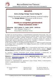 MEGHÍVÓ_X. Energia Műhely - MMK Energetikai Tagozat - Magyar ...