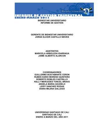 Informe de Gestión Trimestral (Enero - Marzo 2011) - Bienestar ...