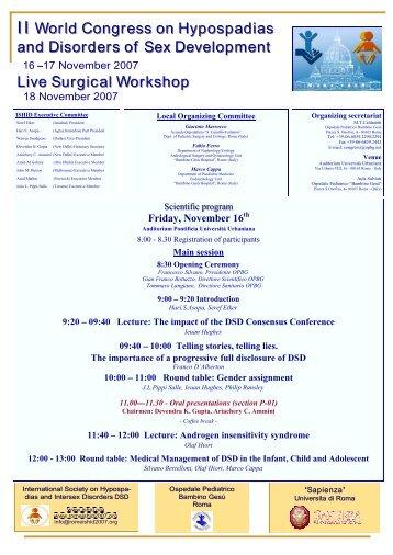 II World Congress on Hypospadias and Disorders of ... - IPOSPADIA