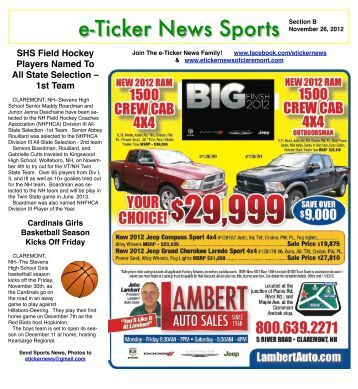 November 26, 2012, Section B - e-Ticker News of Claremont, NH