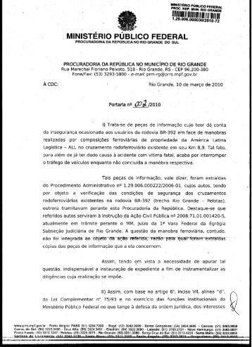 Portaria IC 002 2010 PRM Rio Grande - Procuradoria da República ...