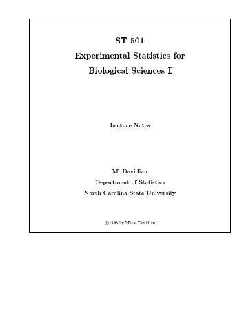 Experimental Statistics for Biological Sciences I - NCSU Statistics ...