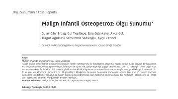 Malign ‹nfantil Osteopetroz: Olgu Sunumu*