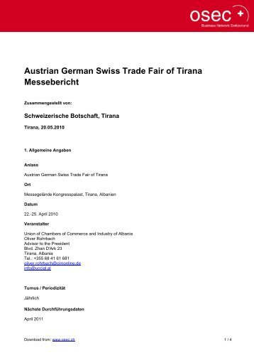 Austrian German Swiss Trade Fair of Tirana Messebericht - Osec