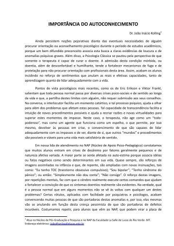 IMPORTÂNCIA DO AUTOCONHECIMENTO - La Salle