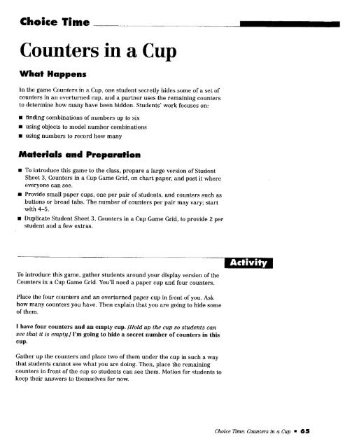 Counters In A Cup
