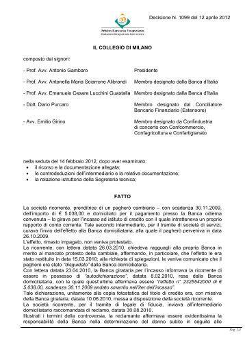 Decisione N. 1099 del 12 aprile 2012 - Arbitro Bancario Finanziario