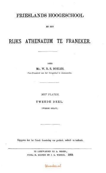 frieslands hoogeschool rijks athenaeum te franeker. - Tresoar
