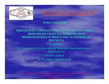 tehnologie complexa curata pentru conversia - PROGRAMUL 4 ...