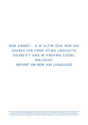 REPORT ON ROMANI LANGUAGE - Romaninet