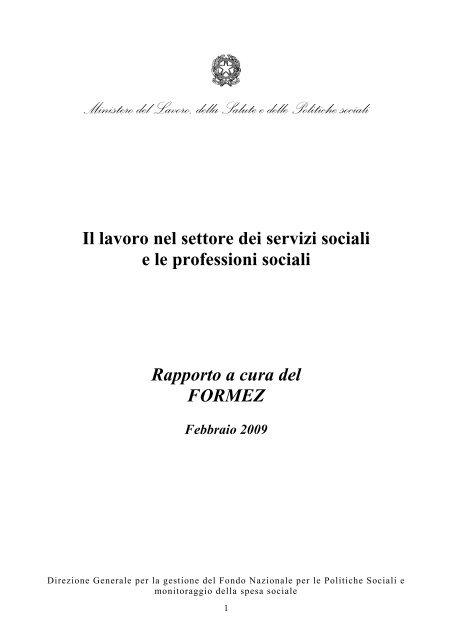 Formez Rapporto Professioni Sociali Ministero Del Lavoro Salute E
