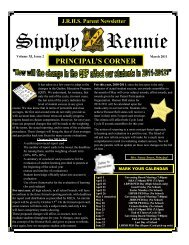 PRINCIPAL'S CORNER - John Rennie High School, Pointe Claire, QC
