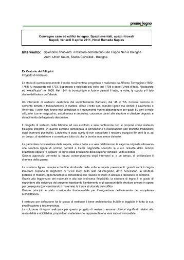 il restauro dell'oratorio San Filippo Neri a Bologna - Promo legno