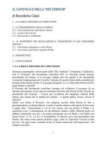 """CALATI Benedetto Il capitolo II della """"Dei Verbum"""