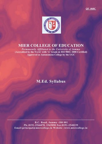 Detailed Syllabus - MIER College of Education