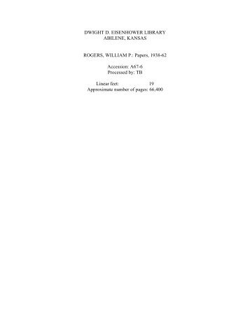 rogers, william p. - Dwight D. Eisenhower Presidential Library and ...