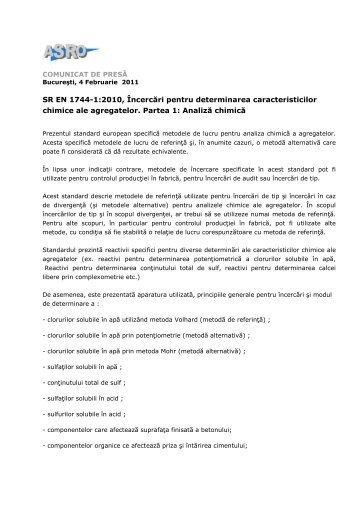 SR EN 1744-1:2010, Încercări pentru determinarea ... - ASRO