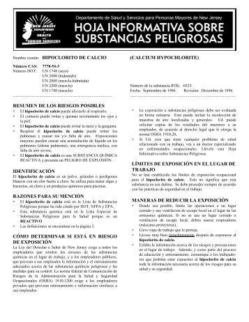 Nombre común: HIPOCLORITO DE CALCIO ... - Emedco.info