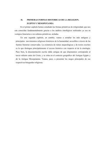 II. PRIMERAS FORMAS HISTORICAS DE LA RELIGION. EGIPTO Y ...