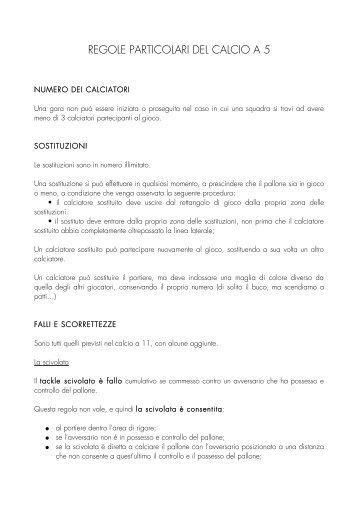 REGOLE PARTICOLARI DEL CALCIO A 5 - distil-lab