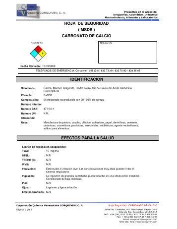 hoja de seguridad carbonato de calcio ( msds ) - Corporación ...