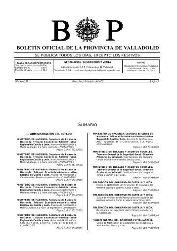 boletín oficial de la provincia de valladolid - Diputación de Valladolid