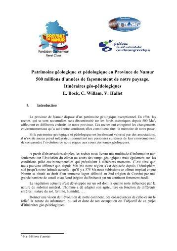 Patrimoine géologique et pédologique en Province de Namur 500 ...