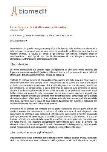 Le allergie e le intolleranze alimentari - Analisipapagni.it