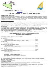 VILLAGGIO BAIA CALAVA' 98063 Gioiosa Marea - Cral Banca Carime