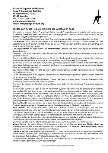 Die Granthis und die Bandhas im Yoga - Yoga in Münster. Patanjali ...