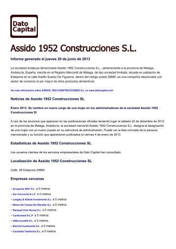 Assido 1952 Construcciones SL, España - Dato Capital