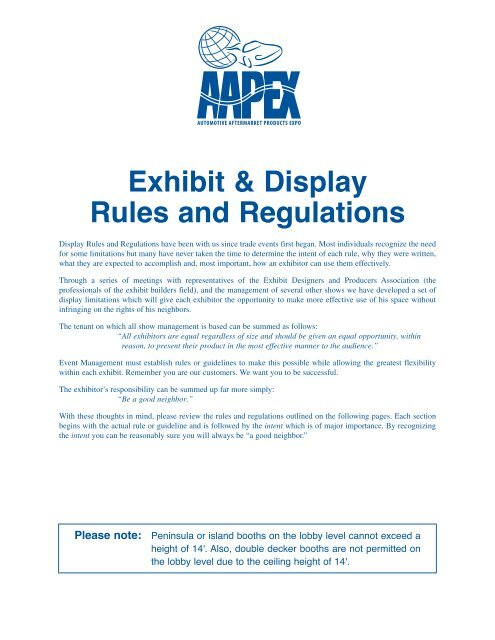 Exhibit Display Rules And Regulations Aapex