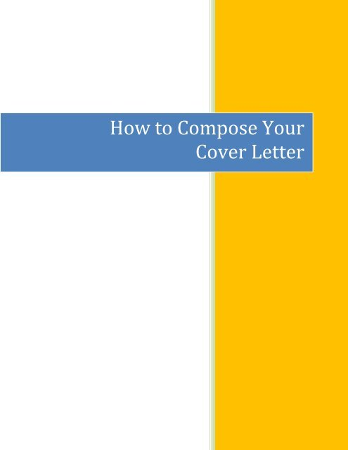How To Compose Your Cover Letter