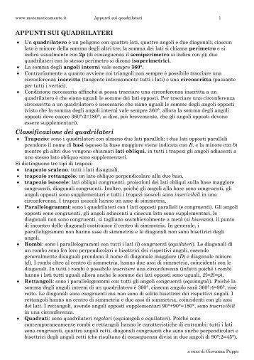Scheda sui quadrilateri - Matematicamente.it