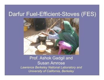 Darfur Fuel-Efficient-Stoves (FES) - BioEnergy Discussion Lists