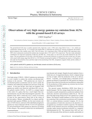 Observations of very high energy gamma-ray emission from AGNs ...