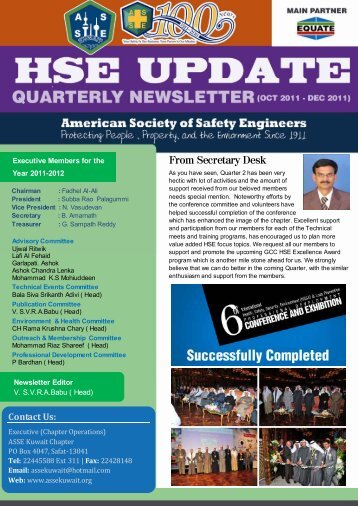 Oct – Dec 2011 - American Society of Safety Engineers, Kuwait