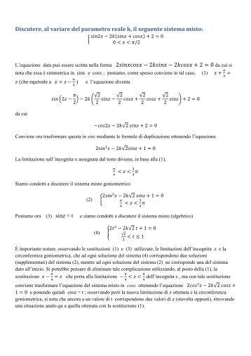 Francesco Camia, Discussione di un sistema goniometrico misto